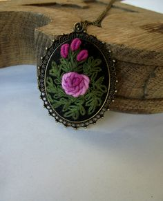 Hand embroidered pendant (color III), medallion with hand embroidered rose by ZoZulkaart on Etsy