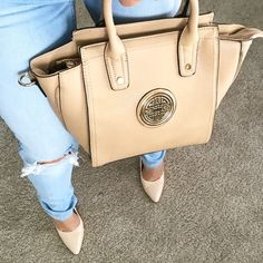 Beige handbag New with tags.. Comes with attachable shoulder strap ❌holds ❌trades firm on price Bags Shoulder Bags