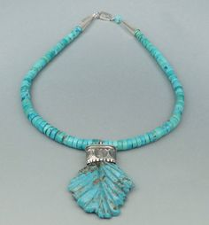 Ernie Lister Navajo Silver and Turquoise Bead Necklace with Carved Turquoise Leaf Pendant | Shiprock Santa Fe