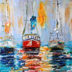 Original oil painting Harbor Boats Sunrise por Karensfineart