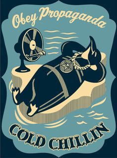 The Cold Chillin' penguin was first introduced on an HPM Record Sleeve at Shepard Fairey's 2007 E Pluribus Venom Show. Fairey is notorious for using images from vintage graphics and not giving credit.