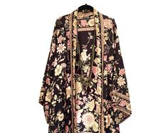 Silk Kimono jacket oversized / cocoon cover up in black and pink rose floral  border print pure silk