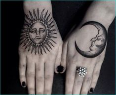 Hand Tattoos are very beautiful. We have selected 50 unique female hand tattoos to browse at your perusal. Moon Sun Tattoo, Sun Tattoos, Tattoos Skull, Trendy Tattoos, Sleeve Tattoos, Sun Moon, Girly Tattoos, Celtic Tattoos, Animal Tattoos