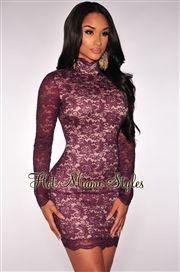 Grape Lace Nude Illusion Mock Neck Dress