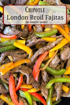 Chipotle London Broil Fajitas Chipotle London Broil Fajitas are marinated for a full day in choose-your-own-spice-level chipotle mojo and cooked quick in a hot skillet. Tostadas, Tacos, Burritos, Quick Easy Meals, Easy Dinner Recipes, Easy Recipes, Dinner Ideas, Enchiladas, London Broil Recipes