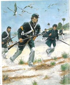US Marines go ashore in Florida during American Civil War.