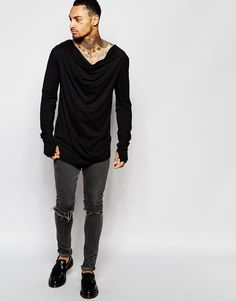 Image 4 of ASOS Longline Long Sleeve T-Shirt With Draped Cowl Neck And  Thumbholes
