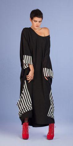 Yiannis Karitsiotis Stunning Black And Stripe Detail Dress