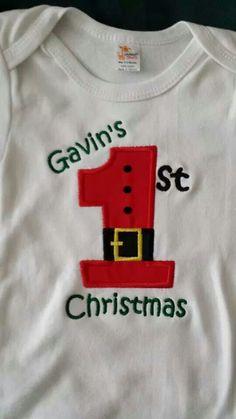 Customized 1st Christmas applique on a onesie.