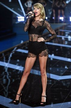 Stage Style // Taylor Swift in a sheer black lace lingerie-inspired outfit at the 2014 Victoria's Secret Fashion Show