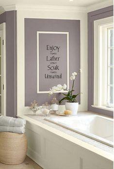 purple wall color Home Bathroom wall decor, Bathroom spa pictures for bathroom wall decor - Bathroom Decoration Bathroom Decals, Wall Decals For Bedroom, Wall Decor Stickers, Bathroom Spa, Bathroom Renos, Bathroom Wall Decor, Bathroom Colors, Bath Decor, Master Bathroom