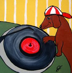 """Dachshund DJ""  New Original Painting by Julie Ellison Anderson"