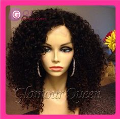 GQ 130 density Brazilian virgin hair afro kinky curly wig lace front human hair wig & glueless full lace wig for black women