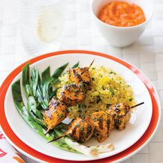 Grilled Chicken Kebabs with Romesco Sauce | MyRecipes.com