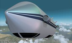 How the Bullet will look in the air. The blimp will run on algae fuel
