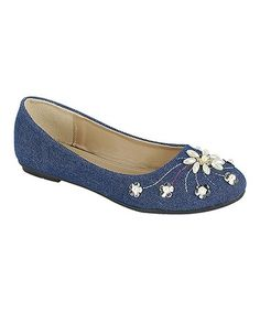 Blue Denim Embellished Flower Mika Flat #zulily #zulilyfinds