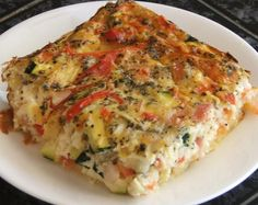 Impossible Savoury Slice - 1 1/2 cups Plain Flour sifted 1 tbs Macadamia Oil 8 Egg beaten 4 cups Skim Milk 1 Onion large diced 6 slices Bacon rasher finely chopped 2 Tomato large diced 1 Zucchini diced 1 Red Capsicum small diced 2 cups low-fat Cheddar Cheese grated 2 tsp fresh Basil ___Oven 180C, 1 1/4 hrs approx.___deep rectangular 20 cm x 30 cm pan, lined with baking paper