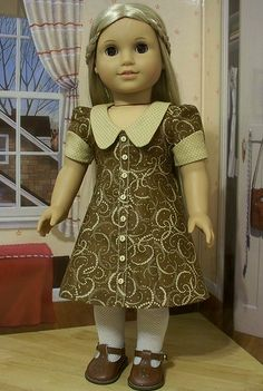 1970's Cinnamon Brown and Ivory Dresss - Made for American Girl Dolls Julie or Ivy
