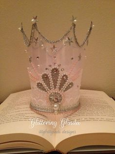 6b674a99aa7d3 Glittering Glinda crown handmade wizard of oz princess party fairy crown  glinda fairy crown pink glitter