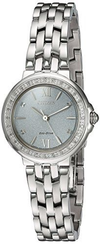 Women's Wrist Watches - Citizen Womens Diamond Quartz Stainless Steel Casual Watch ColorSilverToned Model EM044057A * Click image for more details.