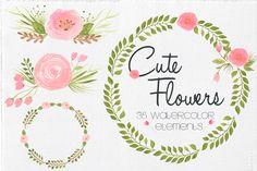 Watercolor Cute Flowers by Lizamperini on Creative Market