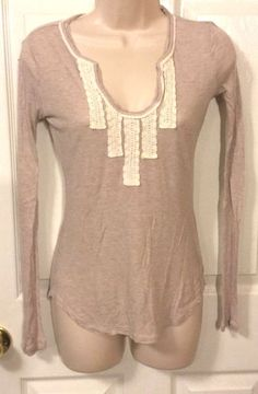 Banana Republic Beige  Waffle Knit Long Sleeve Shirt Size XS #BananaRepublic #KnitTop #Casual