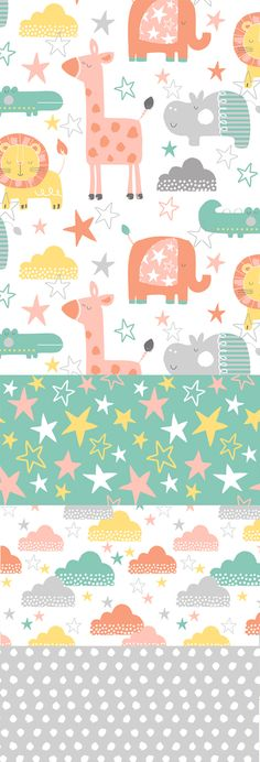 wendy kendall designs – freelance surface pattern designer » jungle stars, pineado por H A B I T A N 2 http://habitanods.blogspot.com.es