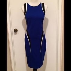 Cache knit dress size 6 Brand new with tags. Blue, black, and white. Size 6. No trades. No PayPal. Cache Dresses Midi