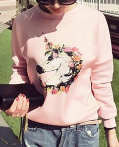 Ladylike Floral Print Long Sleeve Jewel Neck Women's Sweatershirt