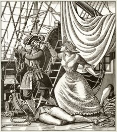 Mary Jones 'The Pirate Slayer' - illustration by Eric Fraser from Folklore Myths and Legends of Britain (1973).