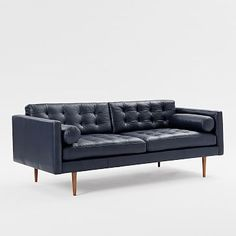 Monroe Mid-Century Leather Sofa #westelm If I could afford it this would likely be our new couch. Blue!!!