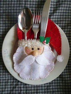 cute felt santa silverware holder
