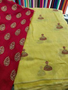 Jute georget saree with designer blouse