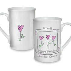 Personalised 3 Hearts Message Mug  Valentines Day Gift for Her