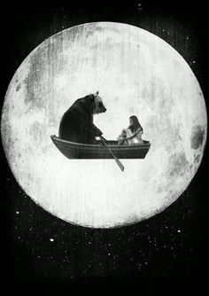 "Bear asked Sophie why they rowed past Moon every night. Sophie said She afraid of Dreams but felt safe sculling Heaven Night Lite. Bear Heart went ""thunk"" feeling a Care . ""How could you not feel safe? You have Friend Forever who is great, boat-rowing Bear."""