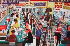 """page from vintage book, """"This is New York"""" by Miroslav Sasek featuring an all American diner"""