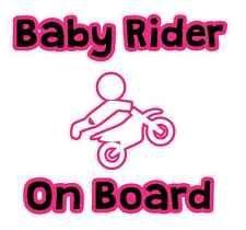 Sticker Baby Biker Rider On Board Car Decal Motorbike Motorcross Dirt Bike Girl