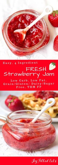 Fresh Strawberry Jam - Low Carb, Low Fat, THM FP, Grain Gluten Dairy Sugar Egg Free     via @joyfilledeats