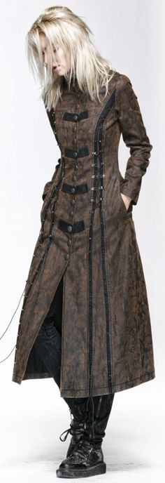 Long manteau marron avec laçage Steampunk Punk Rave Y-548 http://www.99wtf.net/trends/mens-urban-shoes-trends/