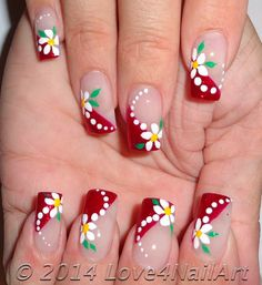 Love4NailArt: Red Glitter French With Floral Nail Art
