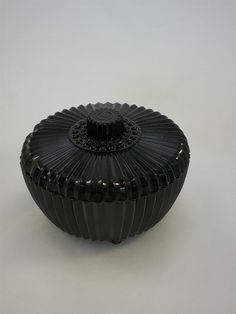 Vintage Black Amethyst Pressed Glass Trinket Box- Storage- Jewlery Storage- Vanity Accesories- Collectible- Art Deco Glass- Bowl- Home Decor