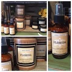 """Here's one of our finds from the Atlanta market! Orange pineapple scented candles  named """"Florida"""". We have two sizes of the candle and room spray! by theposhpineapplensb"""