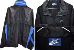Vintage-1980-039-s-Nike-Blue-Label-Windbreaker-Full-Zip-Hooded-Track-Jacket-Large