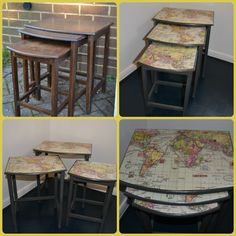 Cute nest of three tables, painted with ASCP 'Graphite' with vintage style maps decoupaged to tops and varnished multiple times for durability.  LOVE!