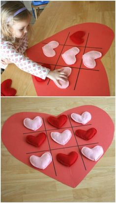 Tic tac toe hearts - 20 adorable and easy diy valentine's day projects for kids Diy And Crafts Sewing, Crafts For Girls, Diy For Kids, Kids Crafts, Kids Fun, Valentines Bricolage, Valentine Day Crafts, Christmas Crafts For Kids, Saint Valentin Diy