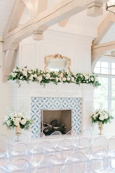 Lily of the Valley Wedding, stunning blue and white weddings, fireplace mantel g. Lily of the Vall Wedding Fireplace Decorations, Wedding Mantle, Garland Wedding, Ceremony Decorations, Wedding Ceremony, Mantle Decorating, Wedding Arches, Reception, Decorating Ideas