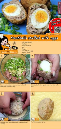 Meatballs stuffed with eggs recipe with video. Detailed steps on how to prepare this easy and simple Meatballs stuffed with eggs! Egg Recipes, Cooking Recipes, Healthy Recipes, Recipies, Tasty, Yummy Food, Pork Dishes, Meatball Recipes, Food Hacks