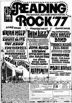 Reading Festival 1977 with Thin Lizzy, Sensational Alex Harvey Band and many more. Graham Parker, Alex Harvey, Rock Posters, Music Posters, Reading Festival, Thin Lizzy, Rock Festivals, Close Shave, Rock Concert