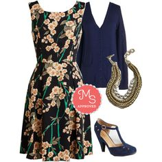 In this outfit: Flair For Florals Dress in Garland, Have a Good Knit Cardigan, Yes You Glam Necklace, The Zest is History Heel #floral #workwear #heels #dresses #fashion #outfits #ootd #style #ModCloth #ModStylist