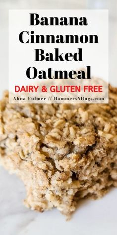 This gluten free, dairy free banana cinnamon baked oatmeal recipe is an easy family breakfast or can be frozen for later!  Tap on the pin for this recipe and more at hammersnhugs.com!  #glutenfreerecipes #lowcarbrecipes #dairyfreerecipes #healthyrecipeshare #glutenfree #healthyfoodie #fitfoodideas #mealplanningmonday #fatlossdiet #macronutrients #macrocounting